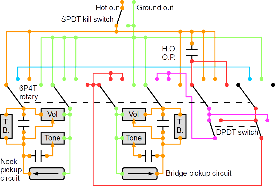 wiring for 8 master options (suggested switching circuit for master  switching): using tone controls and decoupled volume controls with treble  bleed circuit